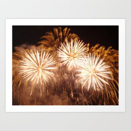 golden firework flowers Art Print