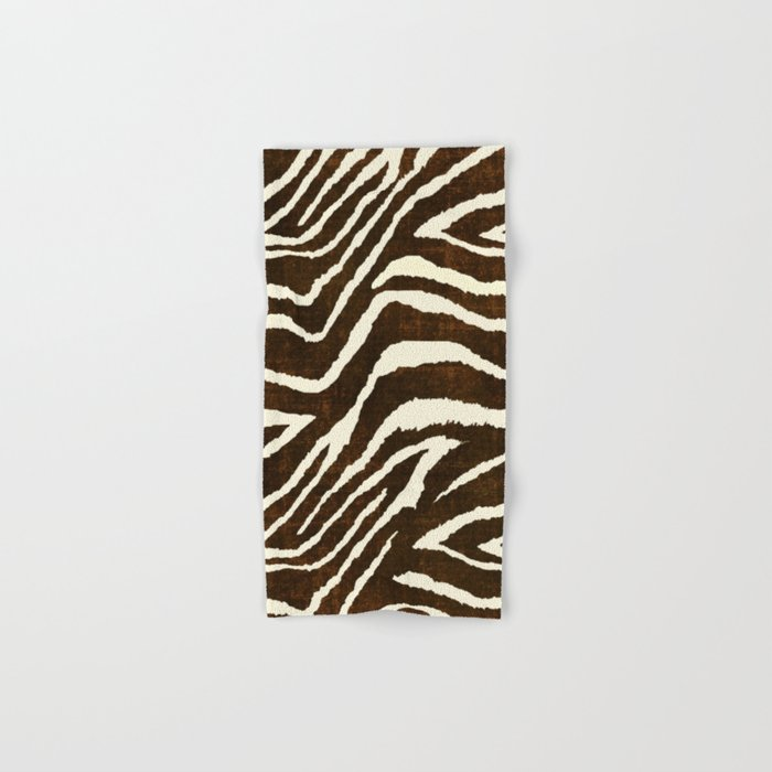 Animal Print Zebra In Winter Brown And Beige Hand Bath Towel