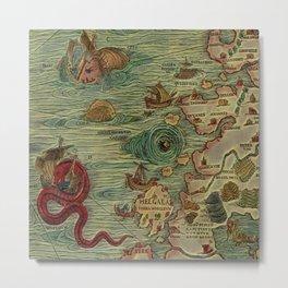 Antique Map Metal Print