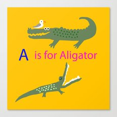 A is for Aligator Canvas Print