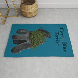 Merry Blue Terrier (Blue Background) Rug