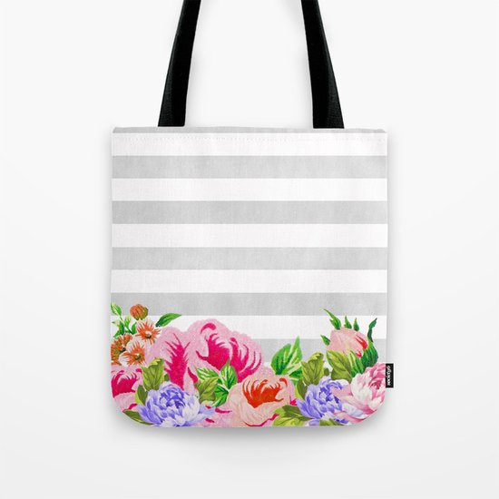 FLORAL GRAY STRIPES Tote Bag