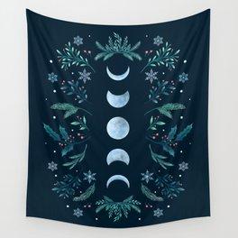 Moonlight Garden - Teal Snow Wall Tapestry