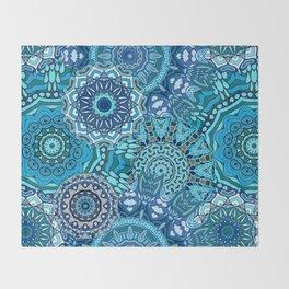 Blue Boho Mandela Pattern 5 Throw Blanket