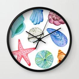 Seashells Watercolor Wall Clock