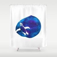 swim Shower Curtains featuring Swim  by Bekka Kate Art