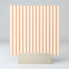 Bright Orange Russet Mattress Ticking Narrow Striped Pattern - Fall Fashion 2018 Mini Art Print