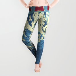 Canada Vintage Travel Poster Commercial Air Travel Poster Leggings