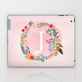 Flower Wreath with Personalized Monogram Initial Letter J on Pink Watercolor Paper Texture Artwork Laptop & iPad Skin