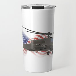 AH-64 Apache Helicopter with American Flag Travel Mug