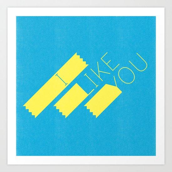 I Like You Graphik: Yellow Type Art Print