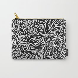 Black And White Psychedelic Flames Carry-All Pouch