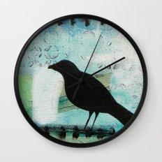 Blackbird singing Wall Clock