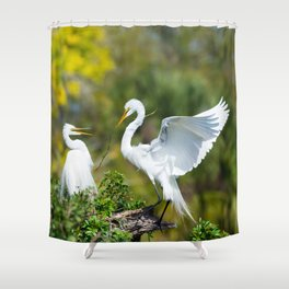 Nesting Egrets Shower Curtain