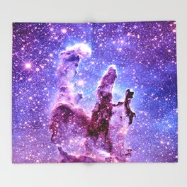 Galaxy Nebula : Pillars of creation Throw Blanket