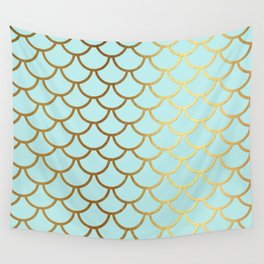 Aqua Teal And Gold Foil MermaidScales - Mermaid Scales Wall Tapestry