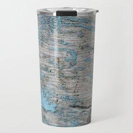 Peeled Blue Paint on Wood rustic decor Travel Mug