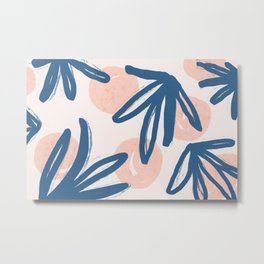 Lovely leaves and polka dot hand painted on pastel background illustration pattern Metal Print