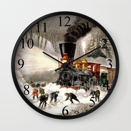 Snow Bound: Vintage Currier & Ives Railroad Scene Wall Clock