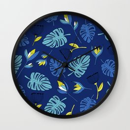 Tropical forest jungle monstera flowers pattern Wall Clock