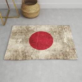 Vintage Aged and Scratched Japanese Flag Rug