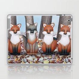 fox friends (with chickadees) Laptop & iPad Skin