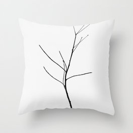 Single Lone Tree in the Void of Winter Snow Throw Pillow