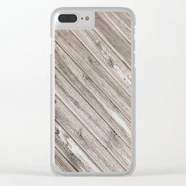 Herringbone Weathered Wood Texture Clear iPhone Case