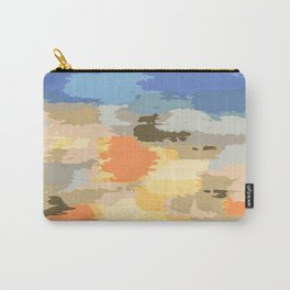 colorful painting abstract background in blue orange yellow pink and brown Carry-All Pouch