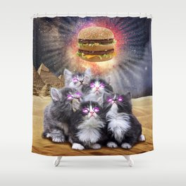 space cats looking for the burger Shower Curtain