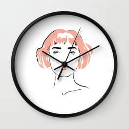 pink hair, don't care Wall Clock