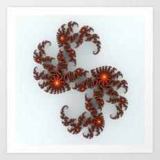 Orange Sunburst Fractal Art Print