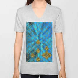 Blue Aqua Turquoise And Gold Glitter Mermaid Scales -Beautiful Mermaidscales Pattern Unisex V-Neck