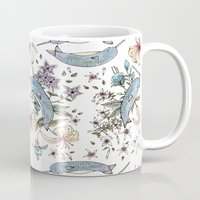narwhal Mugs featuring Narwhal pattern by Brooke Weeber
