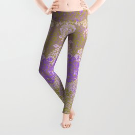 floral paisley on olive Leggings