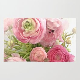 Shabby Chic Cottage Ranunculus Peonies Roses Floral Print Home Decor Rug