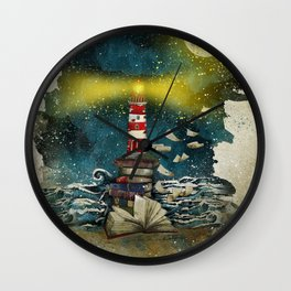 the sea is poetry Wall Clock