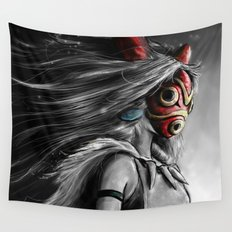 Miyazaki's Mononoke Hime Digital Painting the Wolf Princess Warrior Color Variation Wall Tapestry