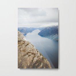 Lysefjord, Norway in Winter Metal Print