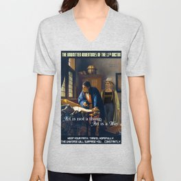 The Doctor and Vermeer's Geographer [Art is aWay] Unisex V-Neck