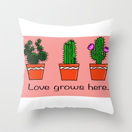 LOVE GROWS HERE Throw Pillow