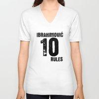 zlatan V-neck T-shirts featuring Ibrahimovic 10 Rules by Lara Murasaki
