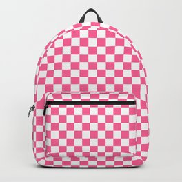 Checkered Pattern Girly Geometric Pink And White  Backpack