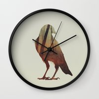crow Wall Clocks featuring Crow by Andreas Lie