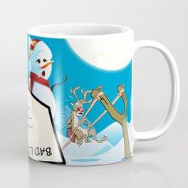 Life at the North Pole - Snowman, Santa Claus and reindeer Coffee Mug