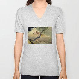 Katsushika Hokusai Boy Viewing Mount Fuji Unisex V-Neck