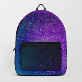 """Purple Stars Paint splatter on Deep Blue """"Dream On"""" Backpack"""