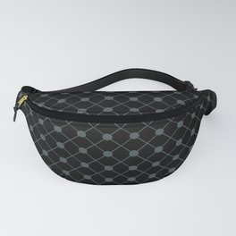 PPG Night Watch Pewter Green Thin Line Stripe Grid (Pinstripe) and Polka Dots on Black Fanny Pack