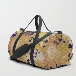 roses and silhouettes in yellow and cream Duffle Bag