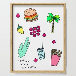 Dear My Lovely California - Burger Cactus Palm Tree Tropical Pattern Serving Tray